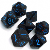 Black & Blue 'Blue Stars' Speckled Polyhedral 7 Dice Set